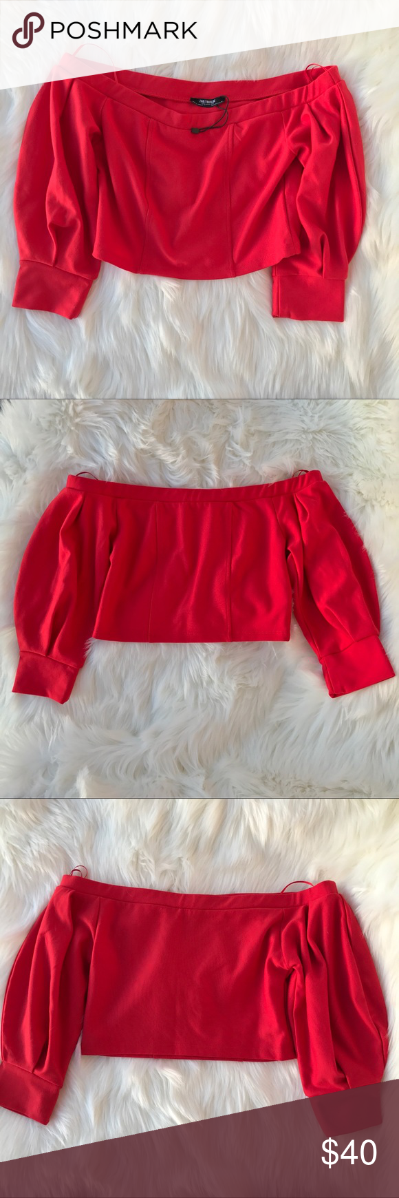 4c76e0d98d7 Zara Off The Shoulder cropped top Brand New without tag. Never worn. No  flaws. Size Small ❌ No trades ‼️Shipping: It might take 6 days or more.