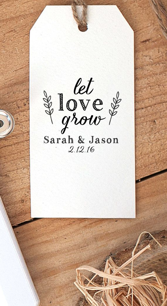 Customized Let Love Grow Seed Packet Wedding Favor Tag Rubber Stamp 27