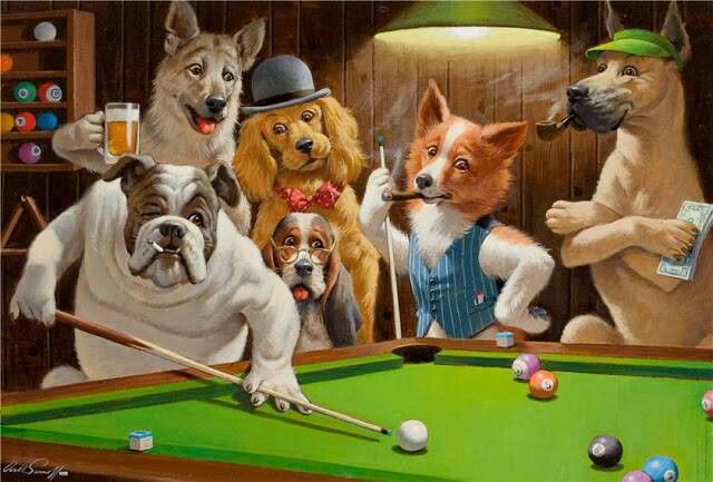 Arthur Sarnoff Dogs Playing Pool Posters Art Prints Dogs Playing Poker