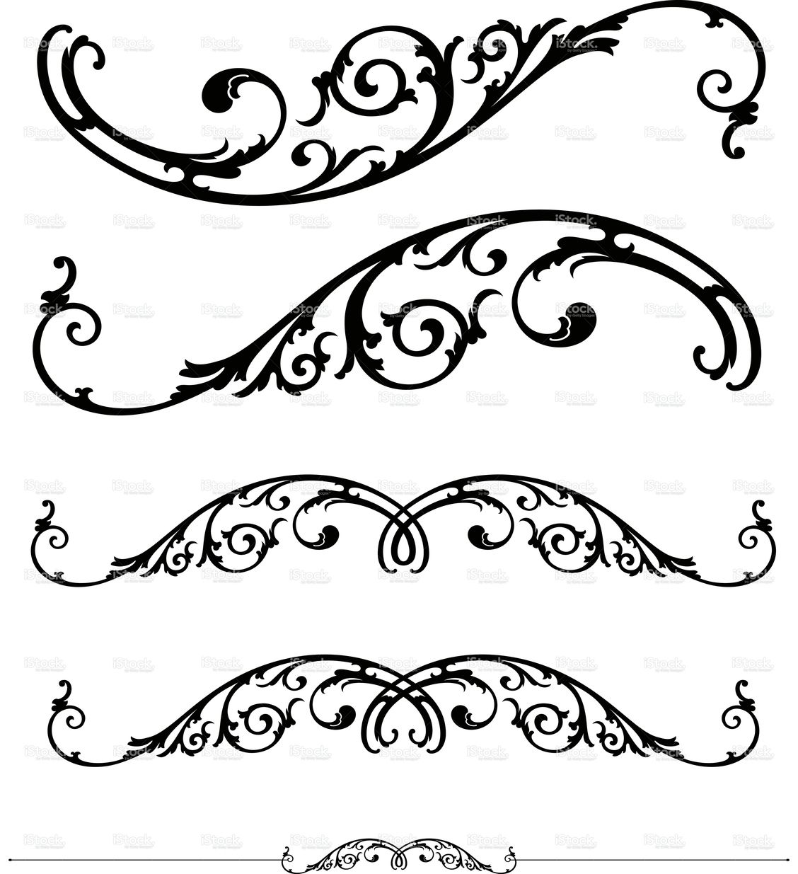 Scroll Drawing: Set Of Ornate Scrolls And Ruledesign