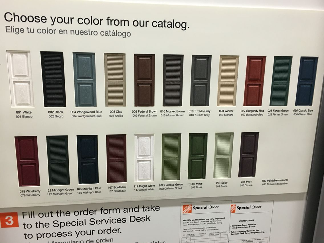 Home Depot's Exterior Shutter Colors