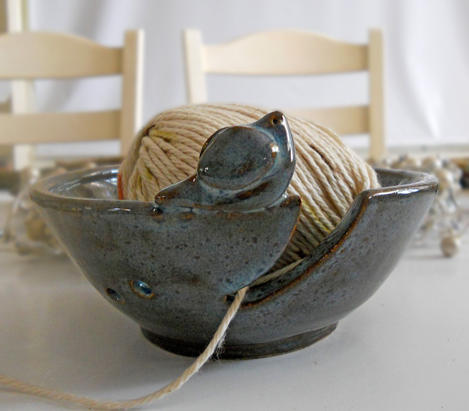 Knitting Bowl Yarn Bowl Bird Handmade Pottery Mother's Day Easter. $33.00, via Etsy.