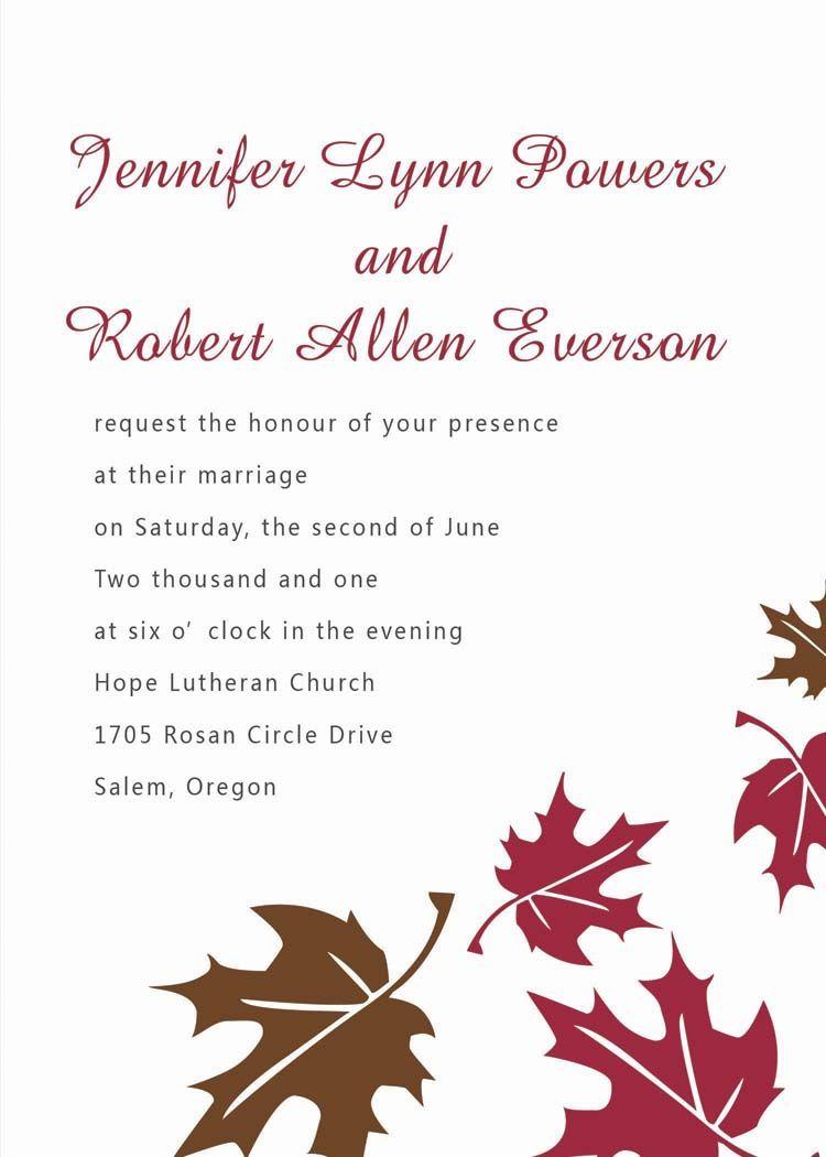Cheap elegant fall maple leaves wedding invitations EWI159 ...