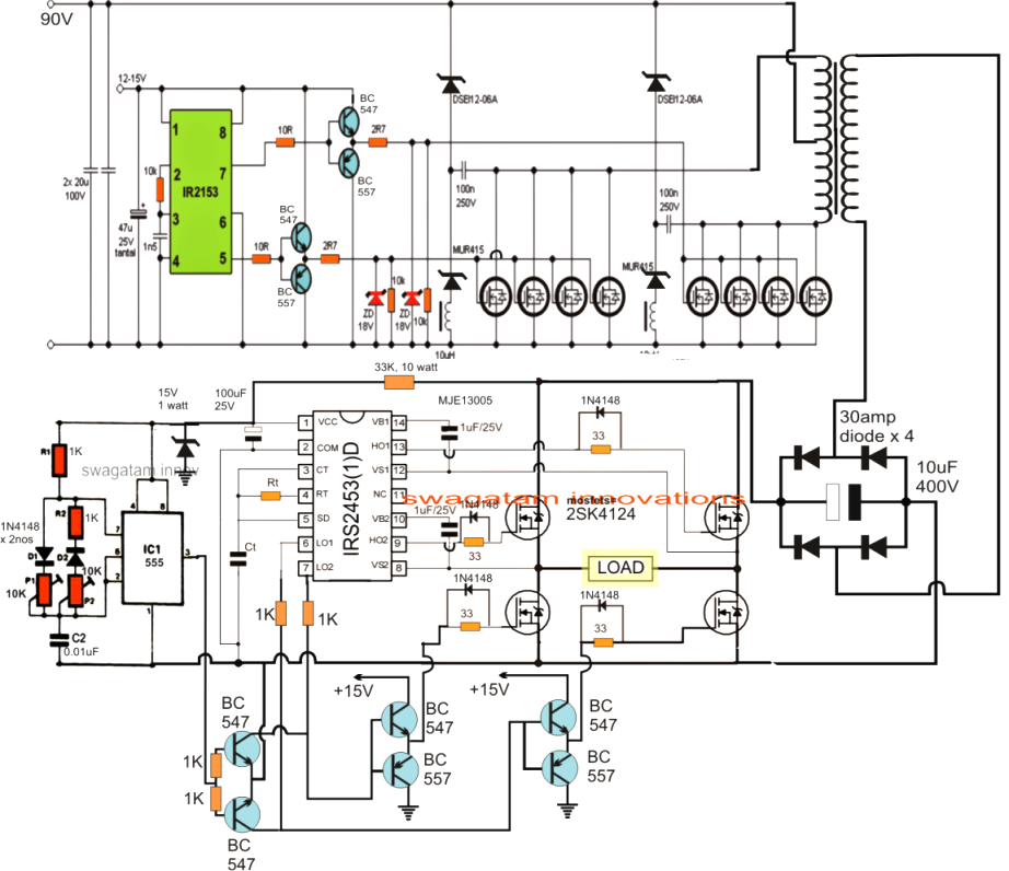 Fet Power Lifier Circuit Moreover Inverter Circuit Diagram 220 Volts