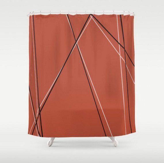 Burnt Orange Geometric Pattern Shower Curtain