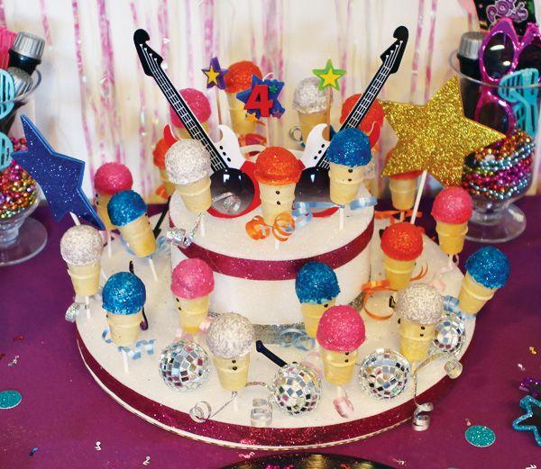 Girly Themed Rockstar Birthday Party Cake Pop Displays Cake Pop
