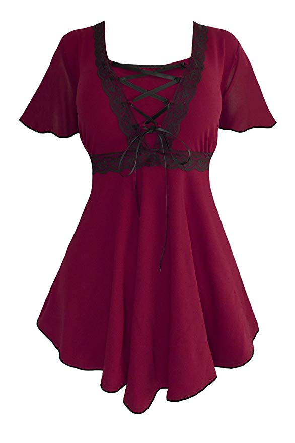 Dare To Wear Victorian Gothic Women/'s Plus Size  Sweetheart Top in Orchid