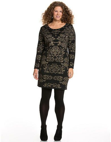4b9c9b23a7de LANE BRYANT PLUS SIZE BLACK & GOLD INTARSIA SWEATER DRESS SZ 26/28 NWOT # LaneBryant #SweaterDress #CocktailFestive