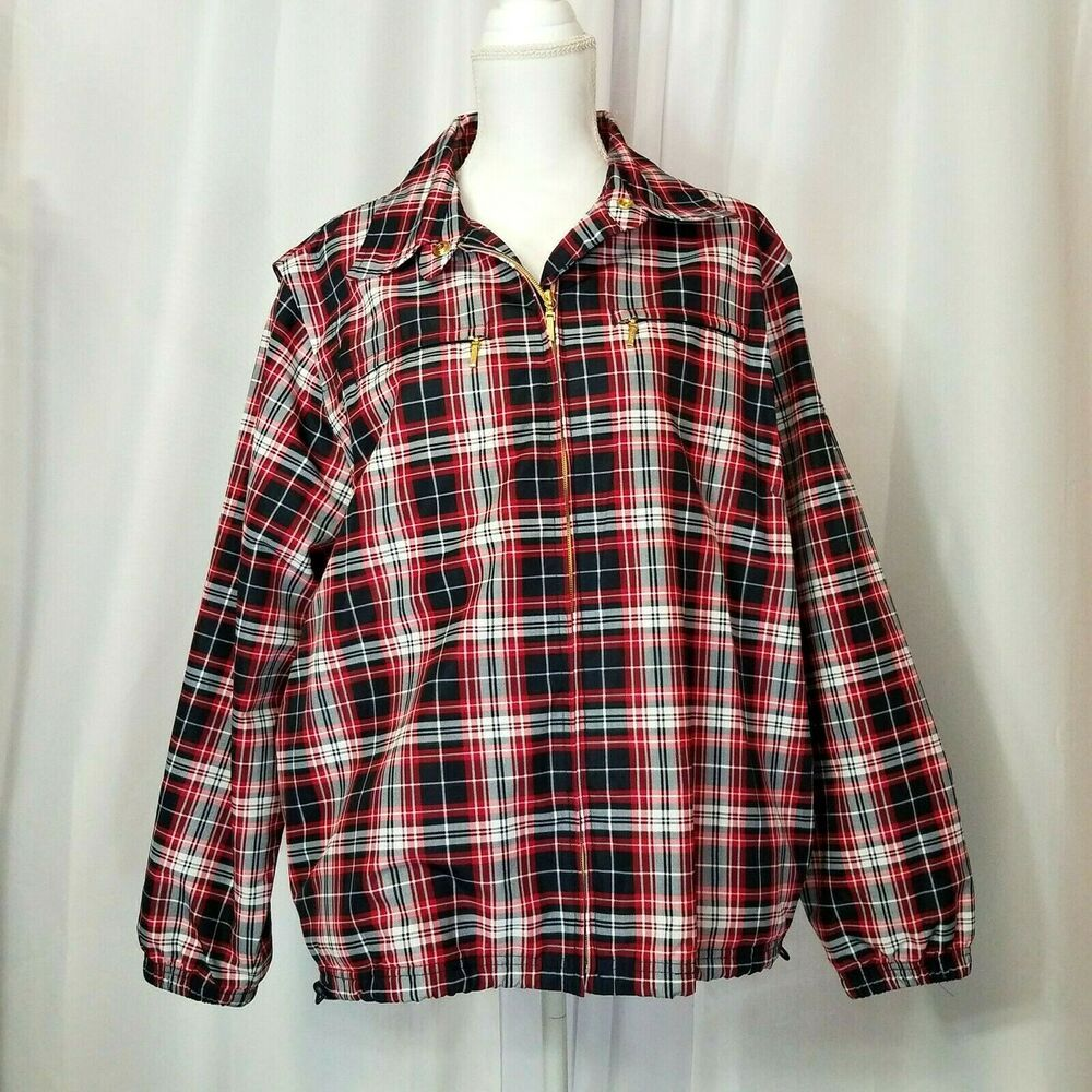 Catalina Womens Xl Windbreaker Rain Jacket Patriotic Red White Blue Plaid Lined Catalina Wi In 2021 Black Blouse Long Sleeve Womens White Sweater Striped Shirt Women [ 1000 x 1000 Pixel ]
