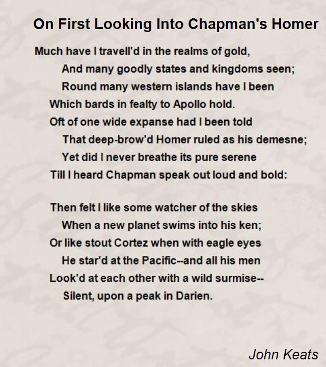 On First Looking Into Chapman's Homer Poem by John Keats - Poem ...