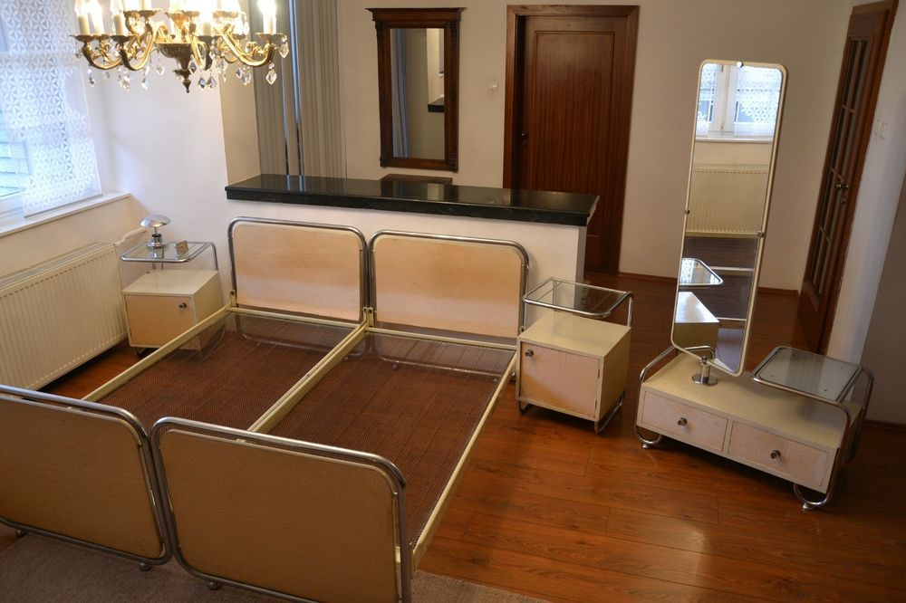 Art Deco SCHLAFZIMMER 2 Tische 2 Bett Ankleidespiegel