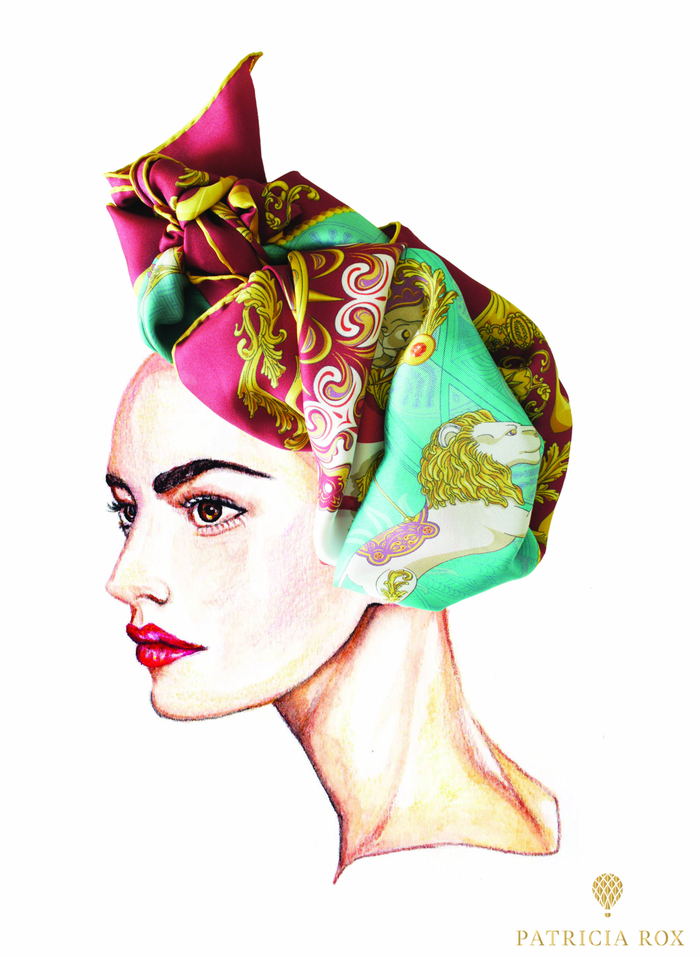 Cirque No. 1 Scarf wrapped as a fashionable turban on one of our illustrations.  Available on: www.patriciarox.com