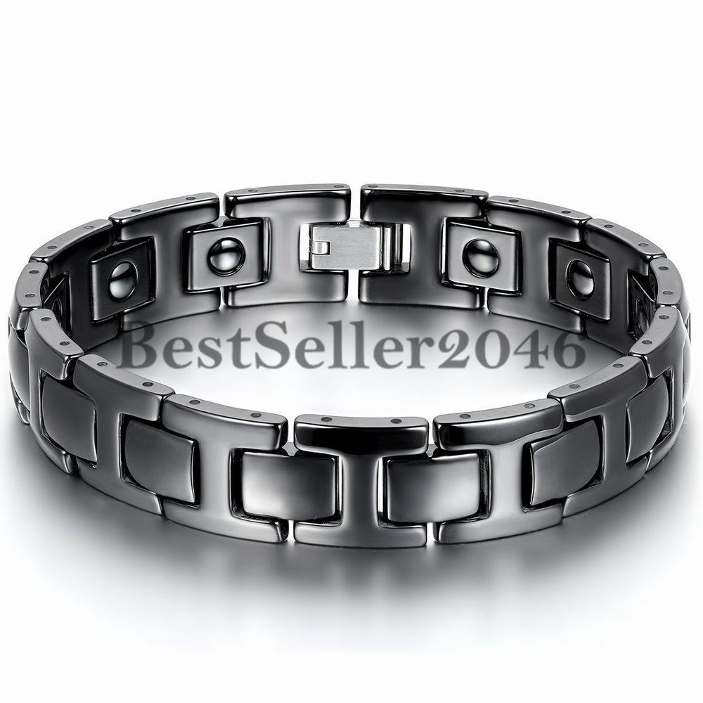 Black Ceramic Men/'s Powerful Health Magnetic Energy Bracelet Link Wristband