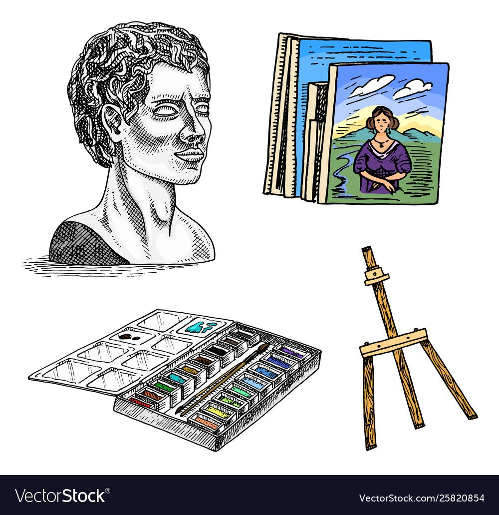 Materials and tools for artist gypsum head vector image on