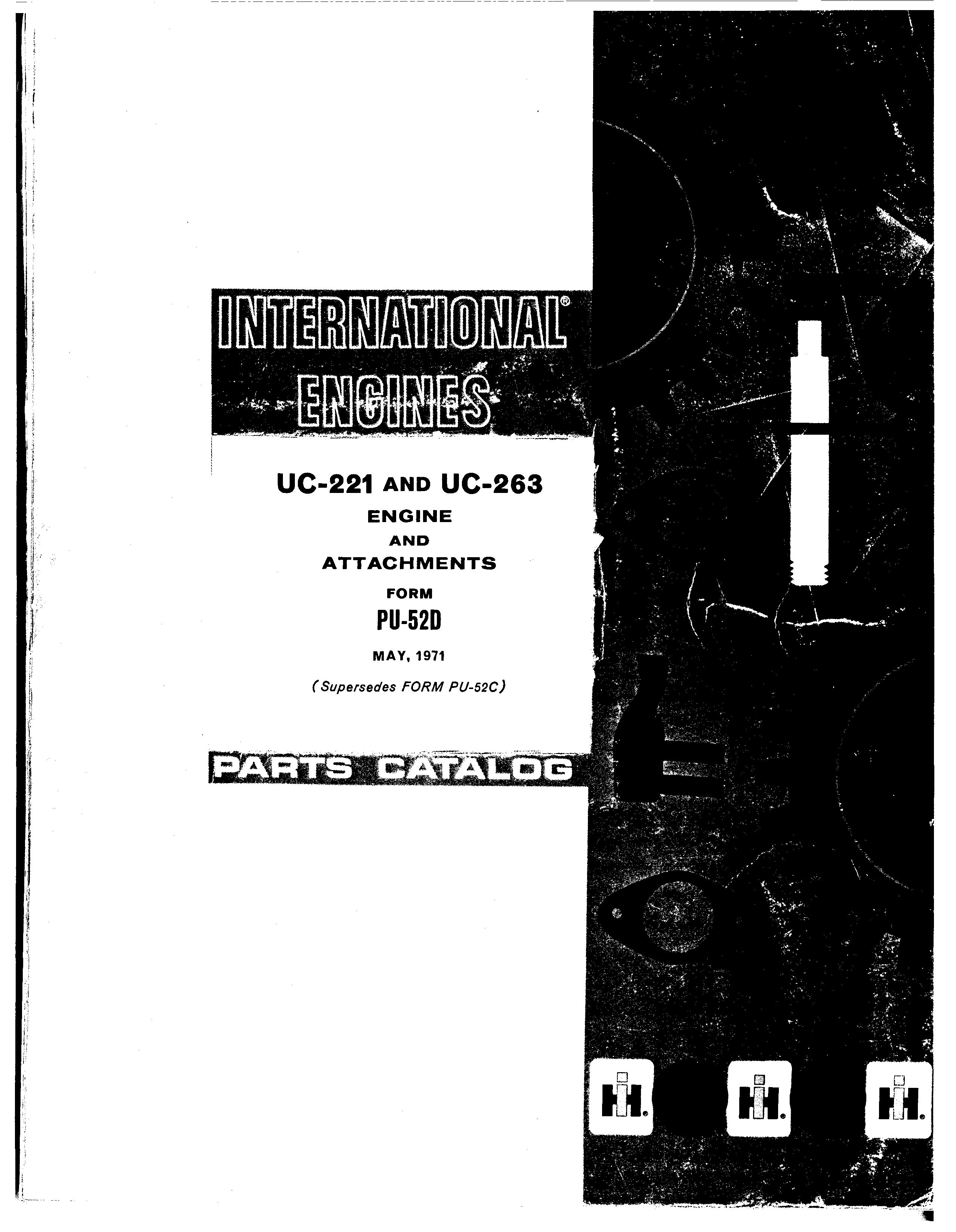 International Uc 221 And Uc 263 Parts Catalog For Engine And Attachments Download In 2020 Parts Catalog Repair And Maintenance Catalog