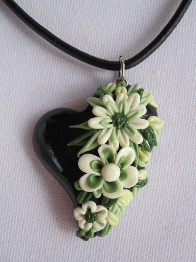 *POLYMER CLAY ~ Black Polymer Clay Heart with Cream Flowers and Leaves by Young…