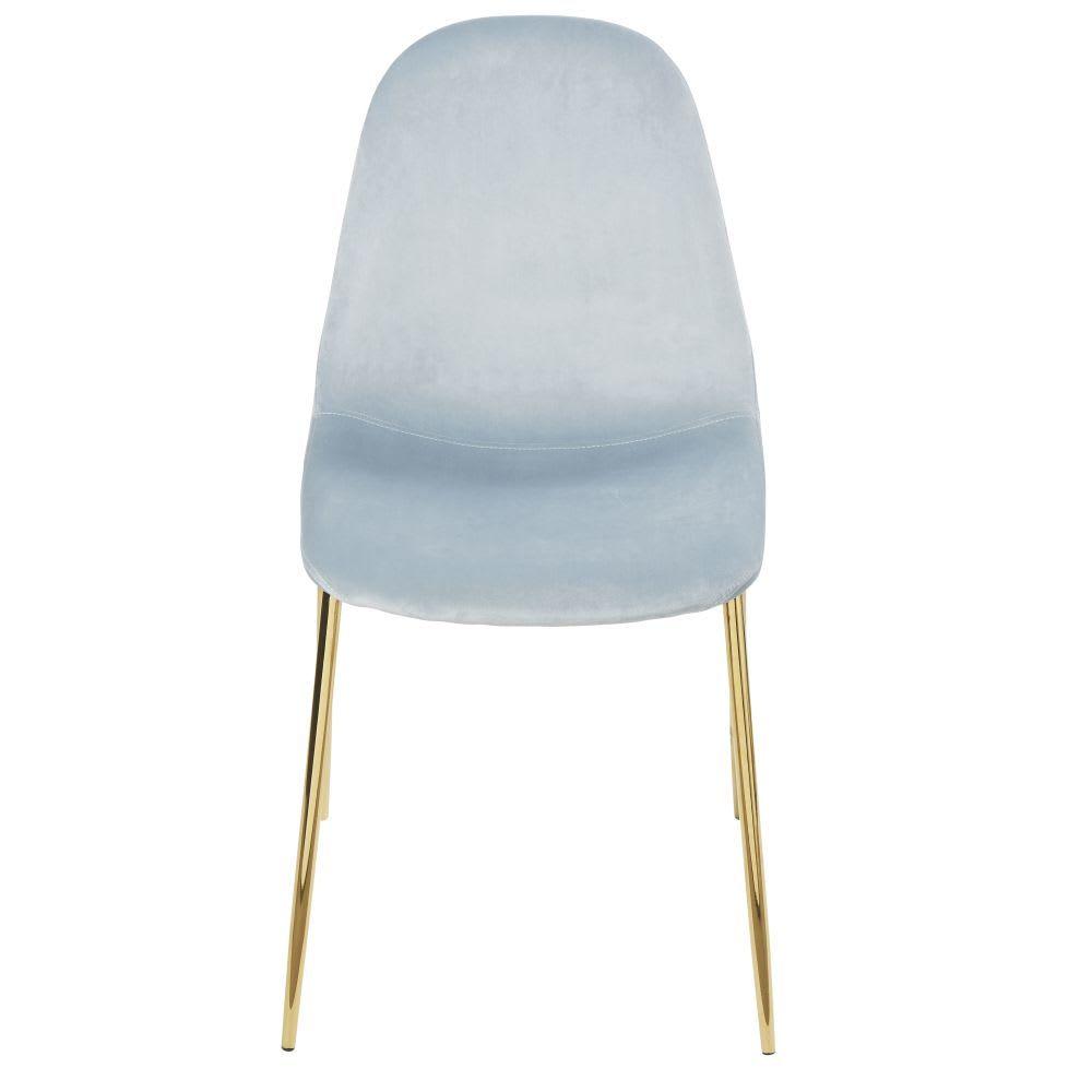 Sedia stile scandinavo in velluto blu cielo | Maisons du