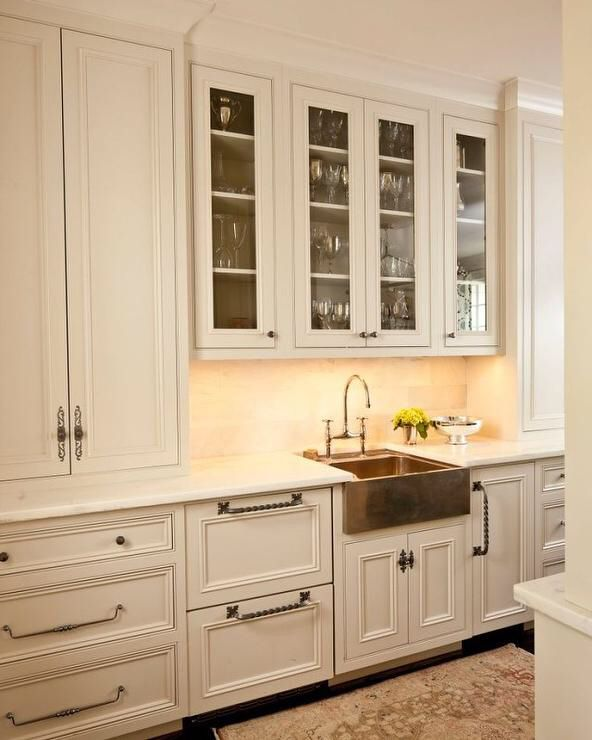 Kitchen Distressed White Cabinets Bronze Fixtures Copper Farmhouse Sink Budget Kitchen Remodel Kitchen Remodel Layout Kitchen Inspirations