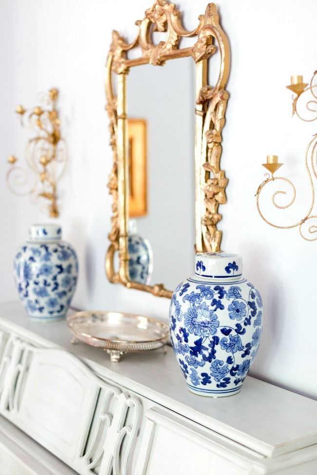 Blue and White Chinese Ginger Jars, Gold Sconces and Mirror - Living Room Decorating Ideas
