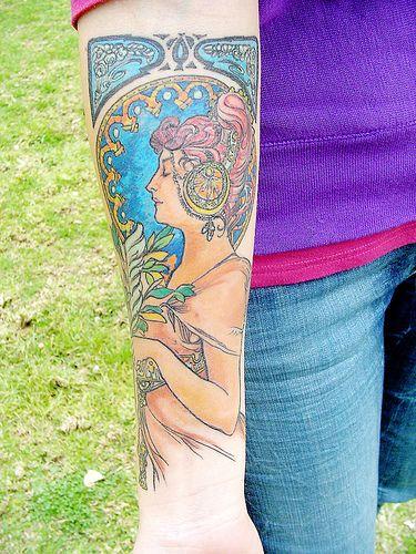 color Alphonse Mucha arm tattoo