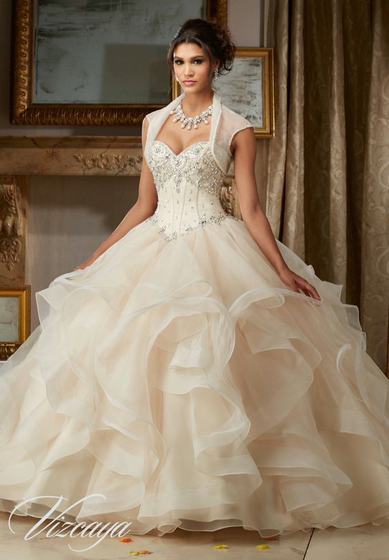 Quinceanera Dress 89107 Jeweled Beading On Flounced Organza Ball Gown