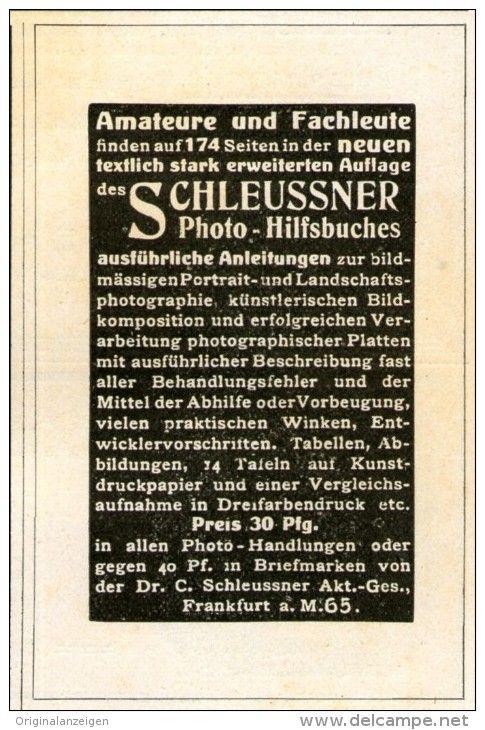Original-Werbung/ Anzeige 1911 - SCHLEUSSNER PHOTO HILFSBUCH - ca. 55 x 90 mm