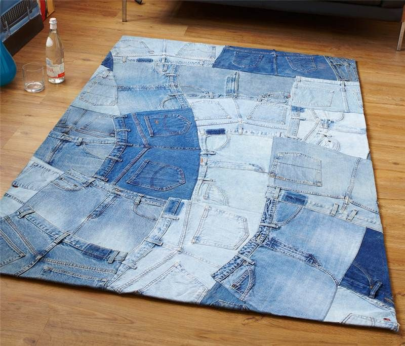 Made From 100% Denim Jeans, This Super Modern Blue Rug Is Stunning - Blue Jean Rugs Roselawnlutheran