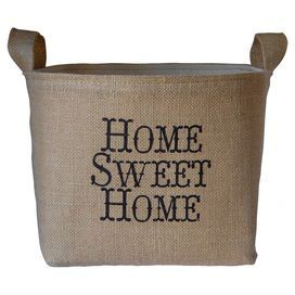 "Bring rustic-chic style to your mudroom or foyer with this charming burlap and canvas storage bin. Showcasing a natural hue and whimsical typography, it's perfect for artfully stowing newspapers and magazines or hats and gloves.   Product: Storage binConstruction Material: Burlap and canvasColor: NaturalFeatures: Handles for easy carryingTypographic motifDimensions: 7.5"" H x 9"" W x 7.5"" D"
