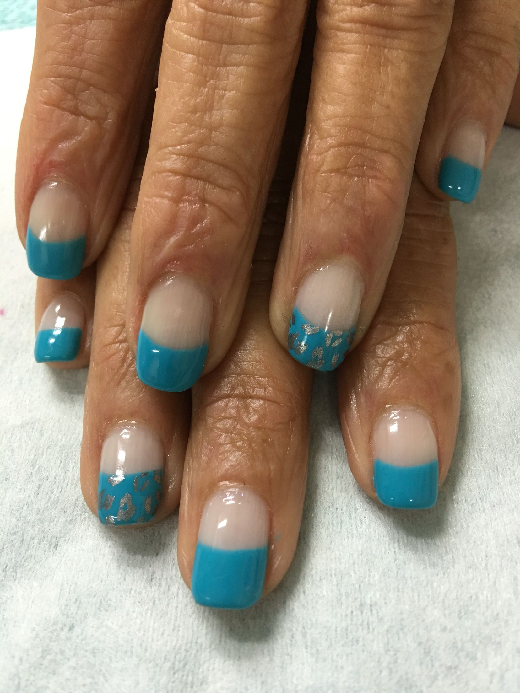 Summer Turquoise stamped leopard French gel nails. | Gel Nail ...