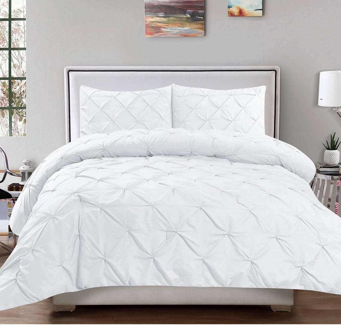 wrinkle pinch white sets piece cover product pleat pure duvet sers pinched princess cotton pattern