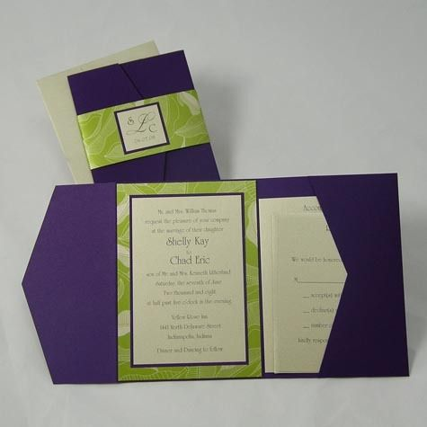 Photo via pocketfold invitations wedding and wedding photo gallery envelopments pocketfold invitation featuring lime green and royal purplevendors envelopme solutioingenieria Gallery