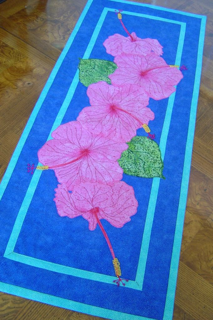 Hibiscus From Trouble Boo Designs Table Runner Pattern Available