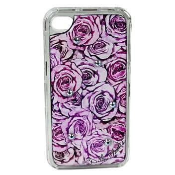 NEW DEBBIE BROOKS IPHONE 4 4S CLEAR COVER LAVENDER PINK FLOWERS SWAROVSKI CASE #DEBBIEBROOKS
