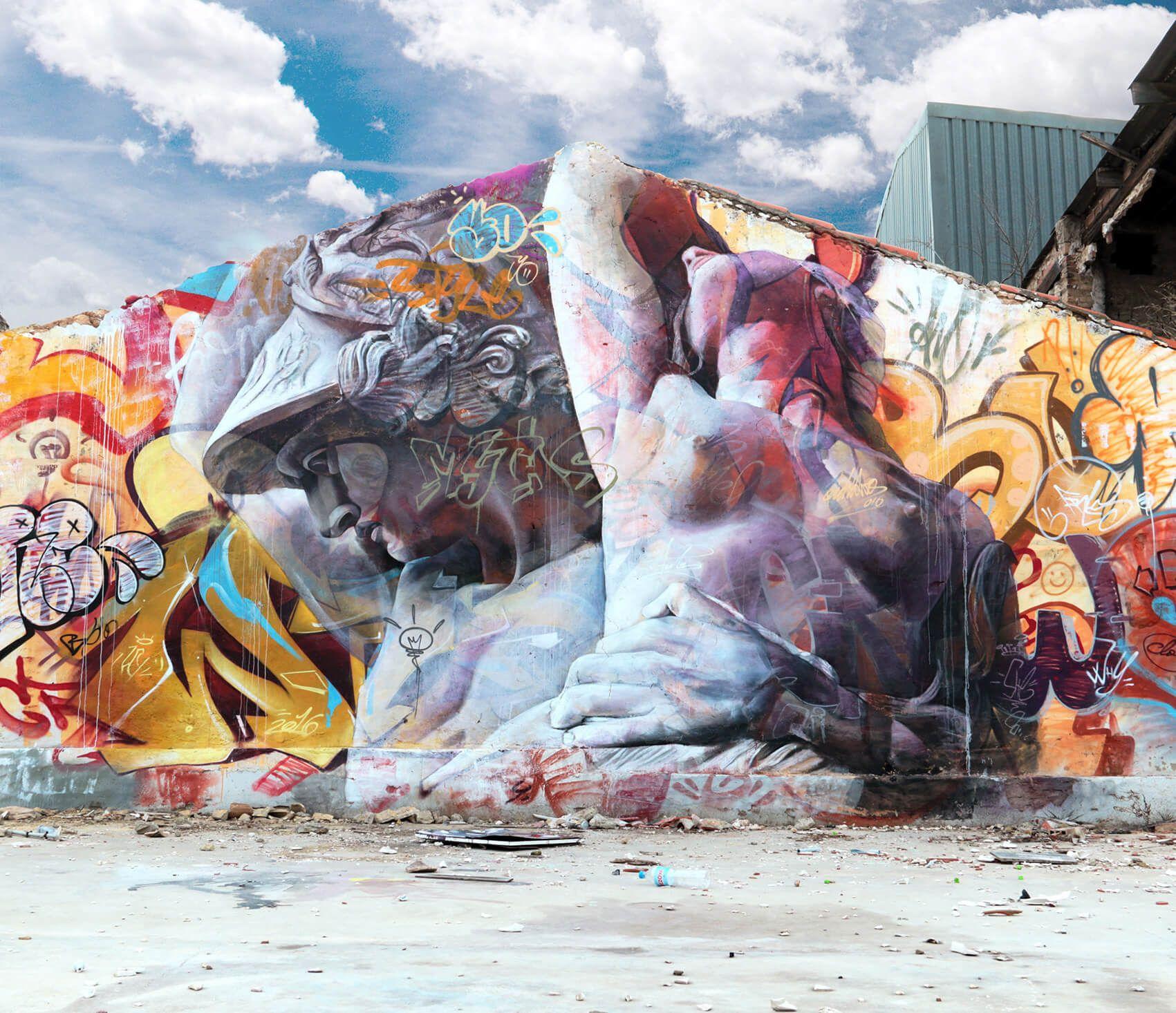 Duo Of Artists Mix Classic Greek Imagery With Graffiti Writing - Beautiful giant murals greek gods pichi avo