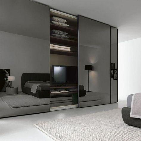 Armoire de chambre contemporaine   en bois laqué brillant   en - roulement de porte coulissante