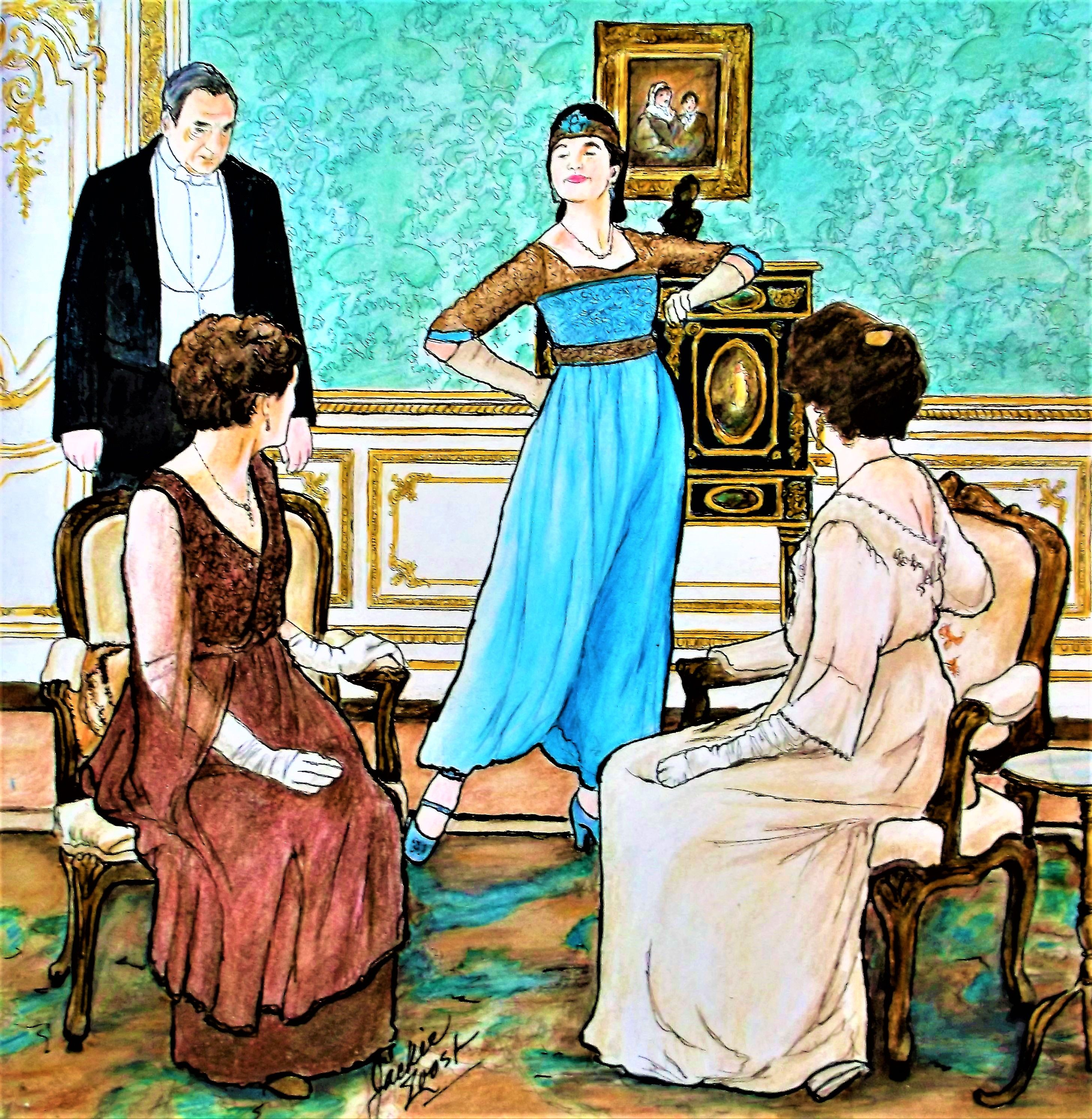 """Colorist Jackie Zoost . Illustrating artist Gwen Burns. From """" Downton Abbey Coloring book."""" Done with FC Polychromos, Prismacolor, Caran D'Ache pencils and Stabilo and Staedtler fine liners."""