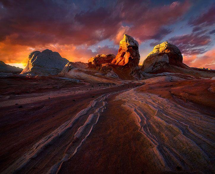 Red Light, photographer Marc Adamus, Marc Adamus, red, sand, rocks, sky, clouds, sunset