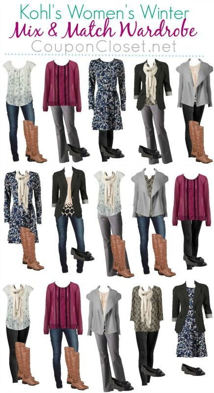 Kohls Winter Wardrobe on a Budget  13 pieces   15 outfits is part of Beautiful Clothes Outfits - E I know that many of you have d our Fashion posts   make sure you see how we created 15 outfits from 13 pieces of clothing here  Those only cost us $18 per outfit  Woohoo! Make sure you also see our Valentines Day Wardrobe post on how to dresss your best …