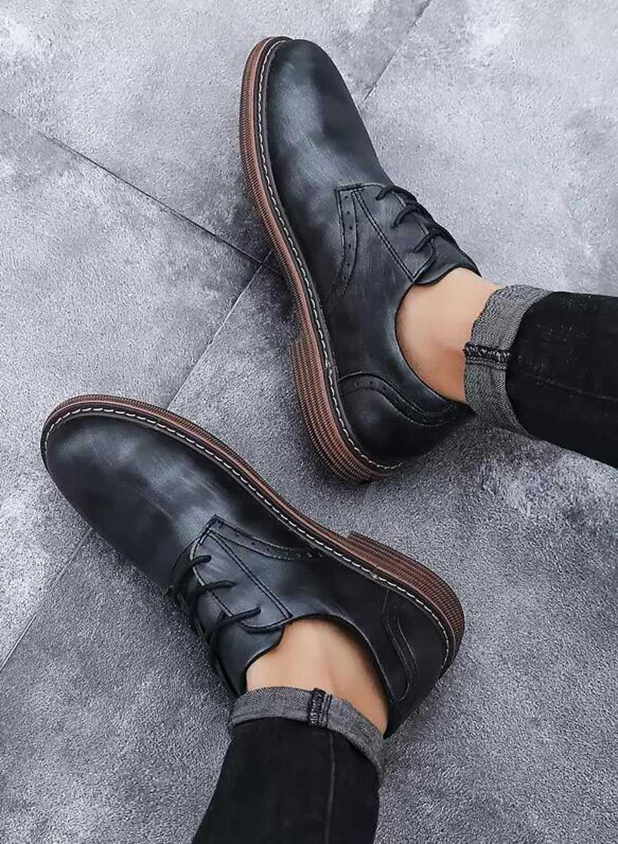 Black Brogue Leather Derby Dress Shoe Retro Tone Mens Black Dress Shoes Dress Shoes Men Black Brogues [ 1200 x 879 Pixel ]