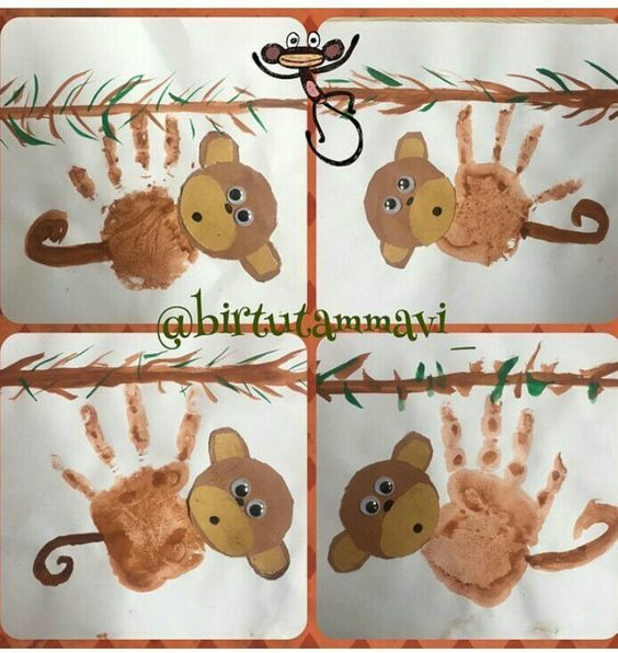 Monkey craft idea for kids | Crafts and Worksheets for Preschool,Toddler and Kin...  - Basteln / Ti