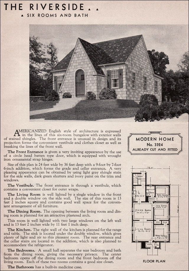 Sears Riverside English Cottage Style 1930s Kit Homes Small – Craftsman Bungalow House Plans 1930S