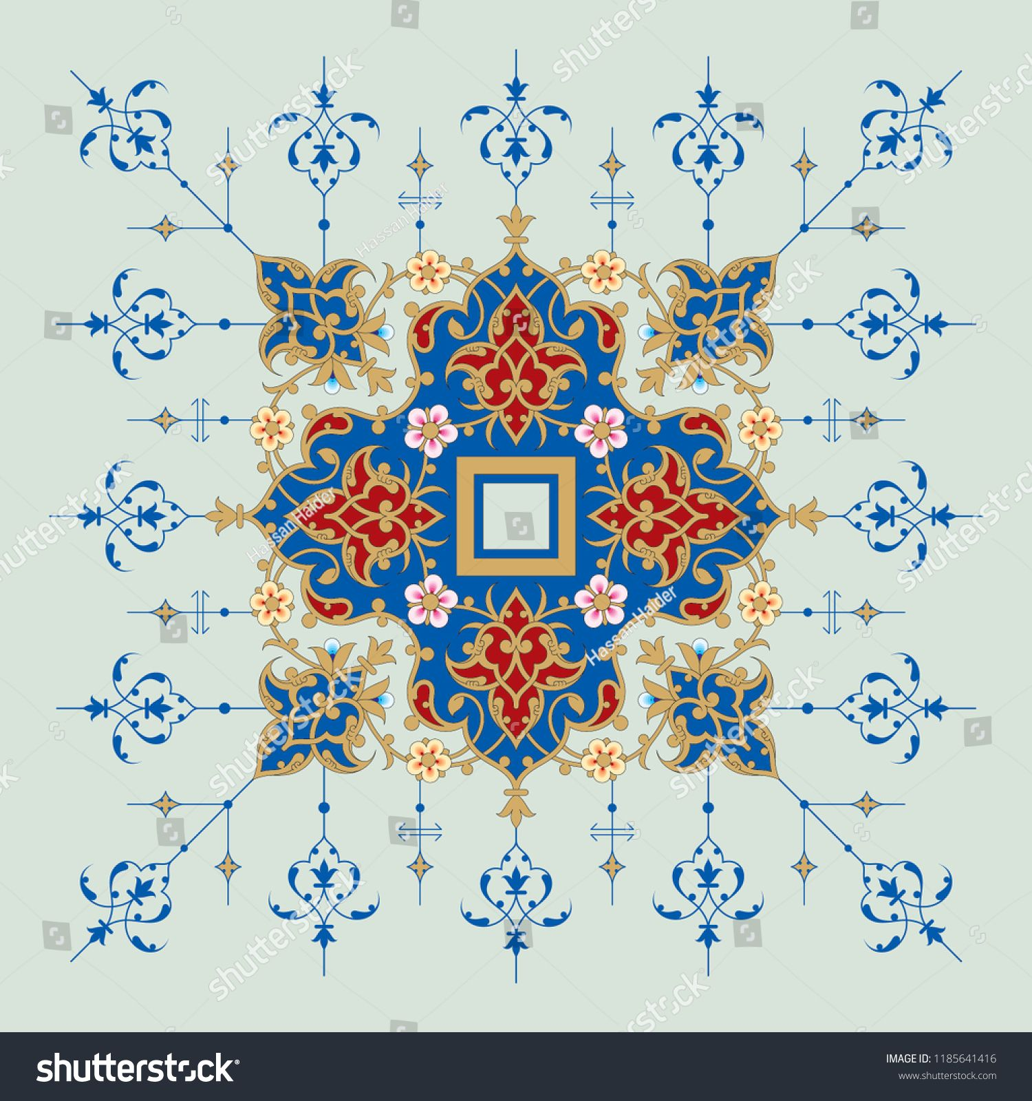Arabic Floral Frame Traditional Islamic Design Mosque Decoration Element Elegance Background With Text Input Area In A Center Islamic Design Design Artwork