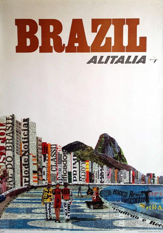 1966 Brazil Travel Poster By Alitalia Original Vintage Poster