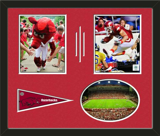 Three framed 8 x 10 inch University of Arkansas photos of Peyton Hillis (including one HORIZONTAL photo framed in an oval) with a University of Arkansas mini pennant, double matted in team colors to 24 x 18 inches.  The lines show the bottom mat color.  The oval photo will be cropped to fit.  (Pennant design subject to change)  $119.99 @ ArtandMore.com