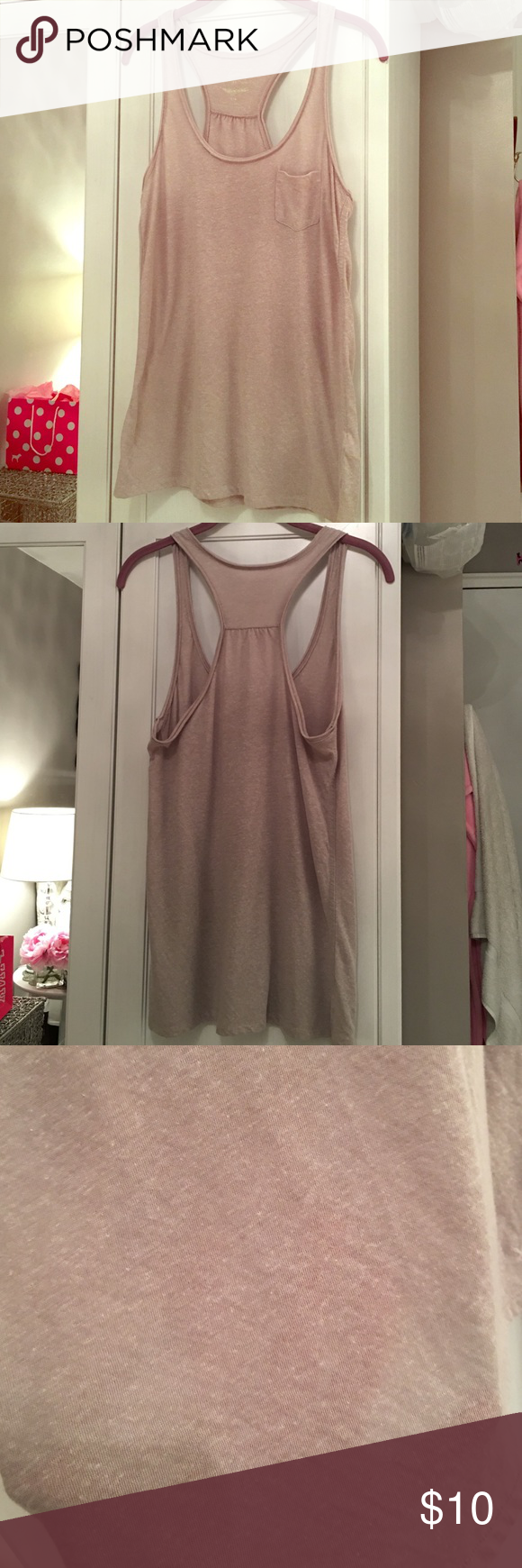 American Eagle Outfitters Tan Tank with Pocket.  American Eagles Outfitters Tan Tank with Pocket. Size M. It's in great condition! ❌ NO TRADES ❌ American Eagle Outfitters Tops Tank Tops