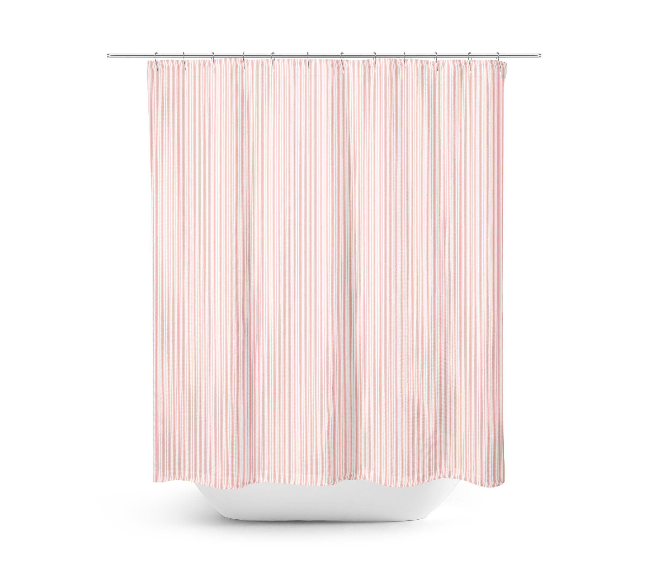 Pink Ticking Shower Curtain Farmhouse Bathroom Decor Light Pink