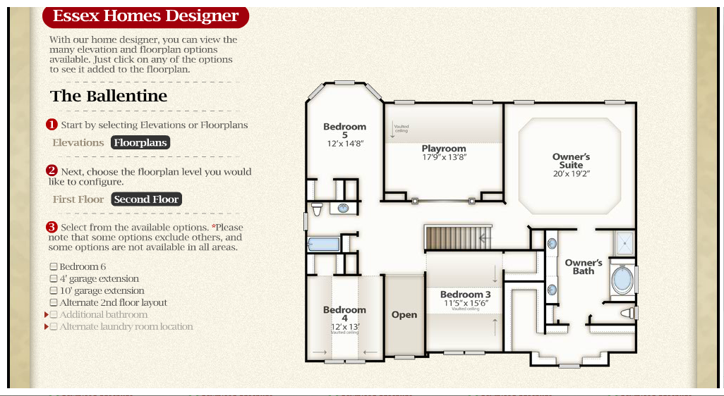 The Ballentine Second Floor Check Out The Interactive Floor Plan On The Essex Homes Website Www Essexhomescharlot Essex Homes Floor Plans Building A House