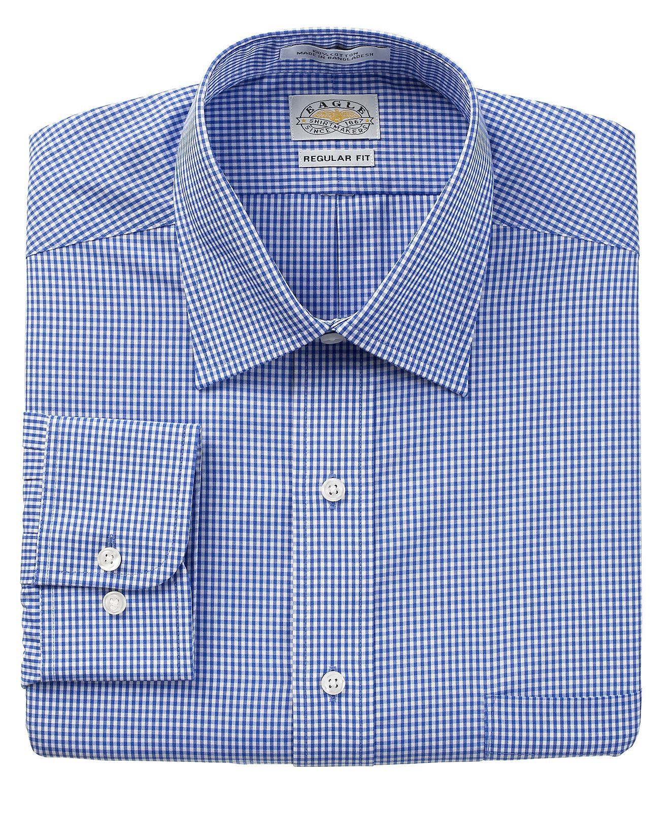 19ad64a6199 Eagle Dress Shirt, Blue Check Long Sleeve Shirt - Mens Dress Shirts ...