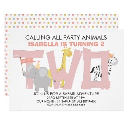 girls safari animals 2nd birthday party invitation in 2018