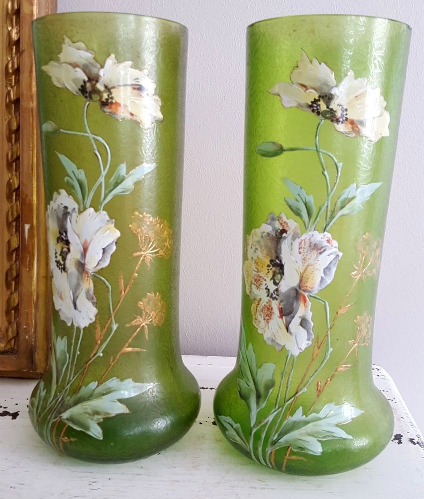 Paire vases verre givr d cor de fleurs pavots legras for Decoration quadrilobe